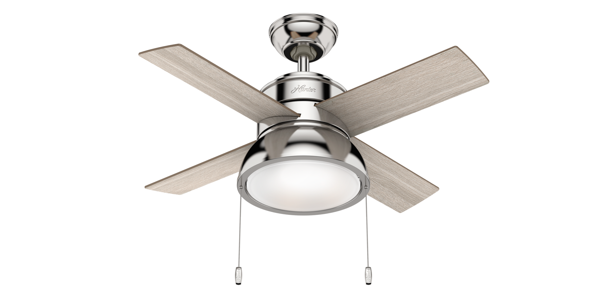 Hunter Indoor Loki Ceiling Fan with LED LightJD inch, Brushed Nickel/Chrome, 59386