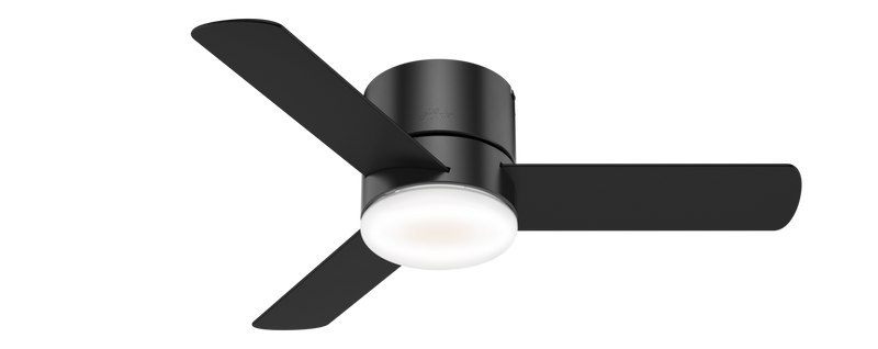 Hunter Indoor Low Profile Minimus Ceiling Fan with LED LightJD inch, Black, 59453