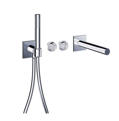 "Blu Bathworks TEP431.01 Pure 2 Electronica In-Wall Thermostatic Tubfiller With Handshower & Smooth 42"" Neoperl Hose"