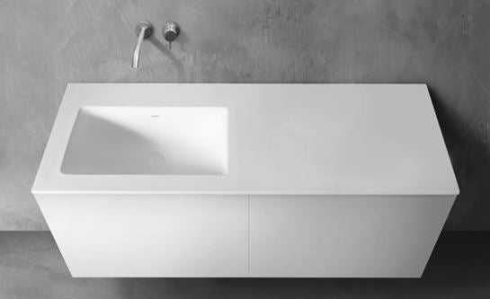 "Blu Bathworks SA1411-01M Blu Stone 55"" Integrated Countertop & Offset (Left) Sink 4"" Thickness White Matte"