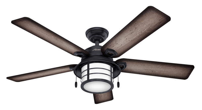 Hunter Indoor/Outdoor Key Biscayne Ceiling Fan with LightJD inch, Gray/Pewter, 59135