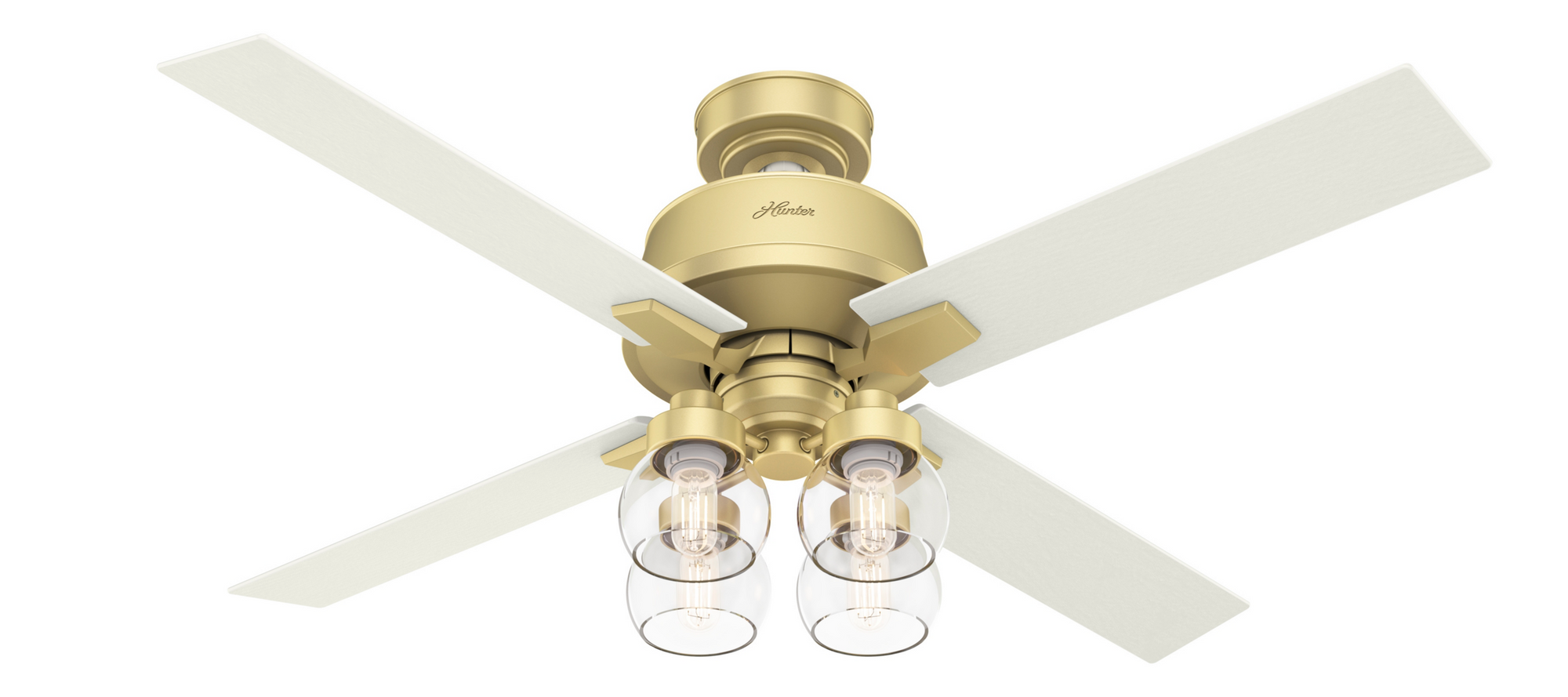 Hunter Indoor Astor Ceiling Fan with LED LightJD inch, Brass, 59651