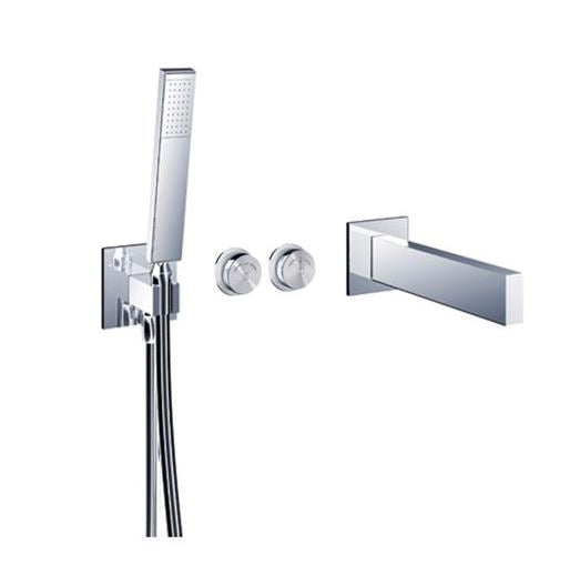 "Blu Bathworks TEU431.01 Opus 2 Electronica In-Wall Thermostatic Tubfiller With Handshower & Smooth 42"" Neoperl Hose"