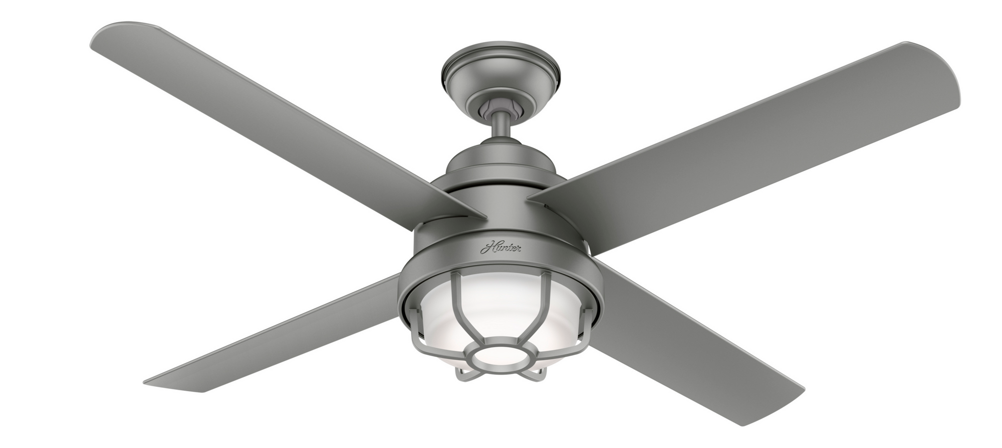 Hunter Indoor/Outdoor Searow Ceiling Fan with LED LightJD inch, Brushed Nickel/Chrome, 55085
