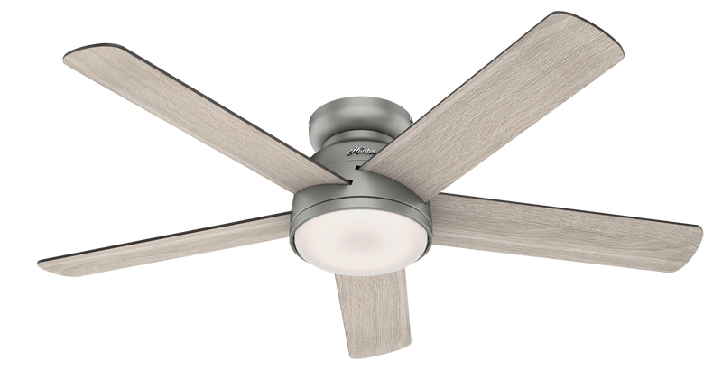 Hunter Indoor Low Profile Romulus Ceiling Fan with LED LightJD inch, Brushed Nickel/Chrome, 59483