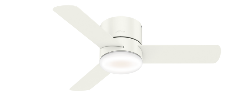 Hunter Indoor Low Profile Minimus Ceiling Fan with LED LightJD inch, White, 59452