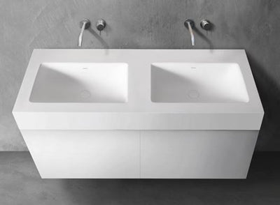 "Blu Bathworks SA1810-01M Blu Stone 71"" Integrated Countertop & Double Sink 4"" Thickness White Matte"
