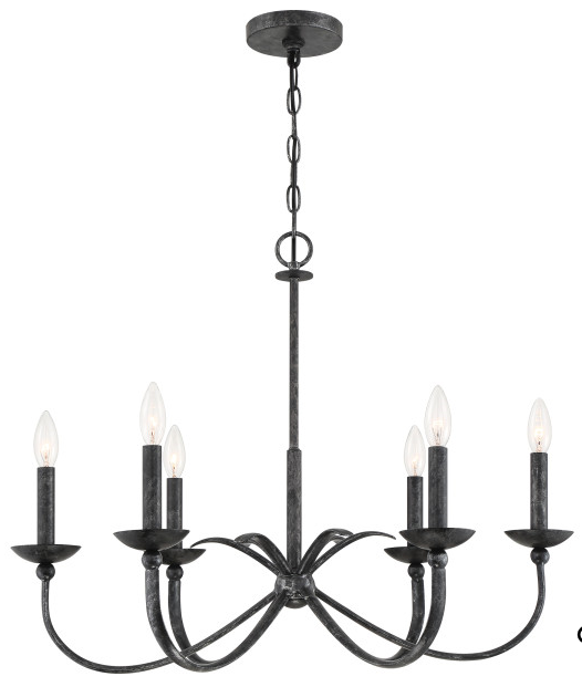 Quoizel CLL5006OK Calligraphy Chandelier 6 Light Old Black