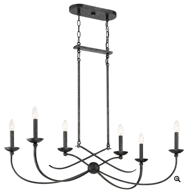 Quoizel CLL638OK Calligraphy Island Chandelier Island 6 Light Old Black
