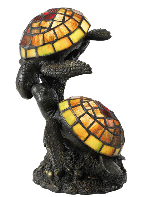 Quoizel TF4052R Wellton Table Lamp Tiffany Turtles 2 Light Architectural Br