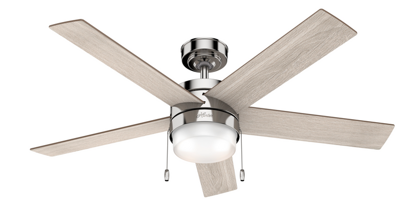 Hunter Indoor Claudette Ceiling Fan with LED LightJD inch, Brushed Nickel/Chrome, 59621