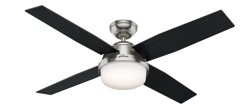 Hunter Indoor Dempsey Ceiling Fan with LED LightJD inch, Brushed Nickel/Chrome, 59451