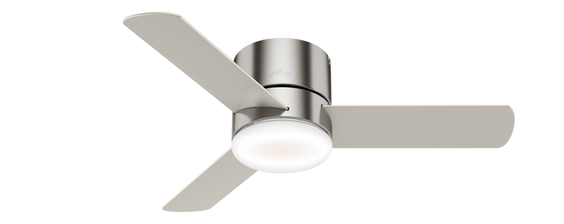 Hunter Indoor Low Profile Minimus Ceiling Fan with LED LightJD inch, Brushed Nickel/Chrome, 59454