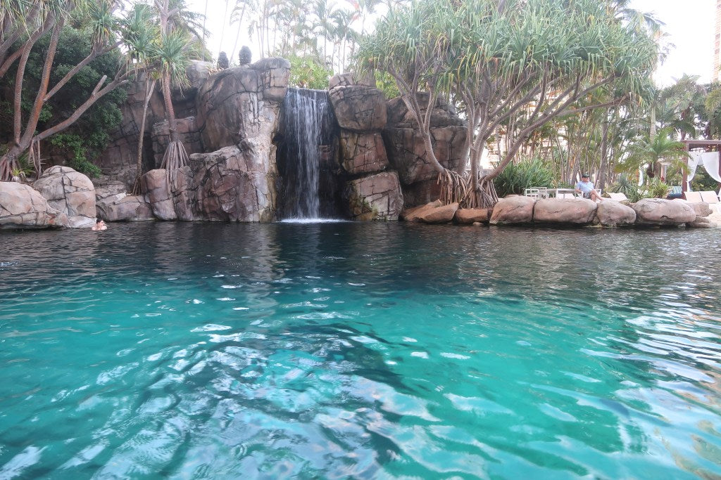 This saltwater pool was filled with tropical fish and just look at that waterfall!