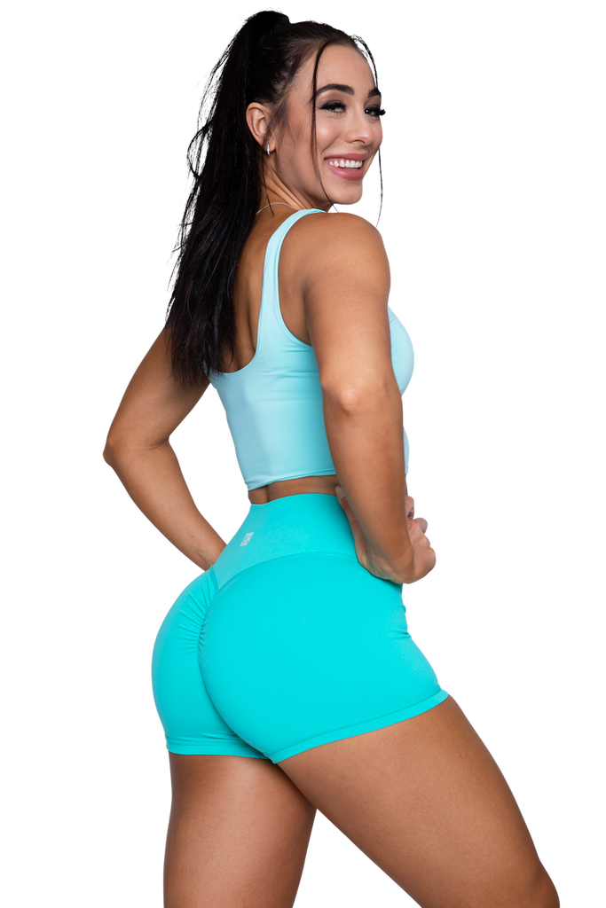 Booty Scrunch Shorts Turquoise