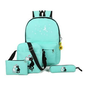 4 Pice/set women backpack schoolbag - Every Day Itemz