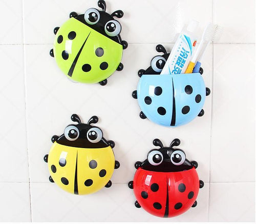 Kids Lovely Animal Ladybug Toothbrush Wall Suction Holders Hooks - Every Day Itemz