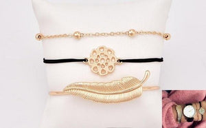 Bohemian Leaves Knot Round Chain Opening Gold Bracelet - Every Day Itemz