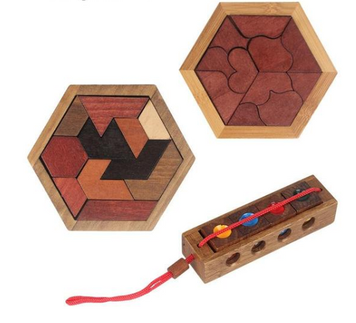 Wood Geometric Shape Puzzle For Kids