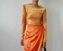 Load image into Gallery viewer, ORANGE  SATIN STRECTCH TOP