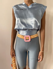 Load image into Gallery viewer, BABY BLUE SATIN V-NECK