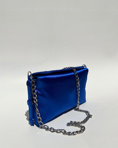 DEEP BLUE SATIN BAG