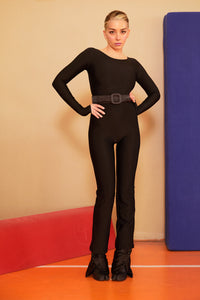 BLACK FLARED CATSUIT