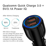 Quick Charge 3.0 Car Charger For Mobile Phone Dual Usb Car Charger Qualcomm Qc 3.0 Fast Charging Adapter Mini Usb Car Charger