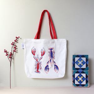 Red and Blue Lobsters Shopper Bag