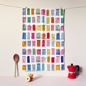 Colourful Houses Tea Towel