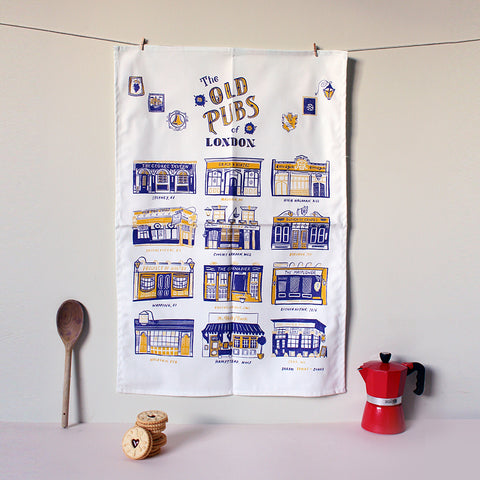 Old Pubs of London Tea Towel