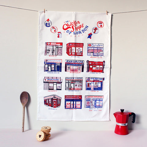 Chicken Shops of London Tea Towel