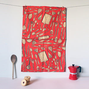 Red Kitchen Tools Tea Towel