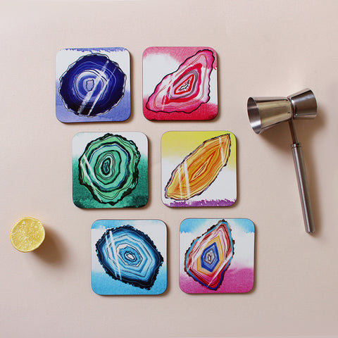 Geodes Wooden Square Coasters - 6 Pack