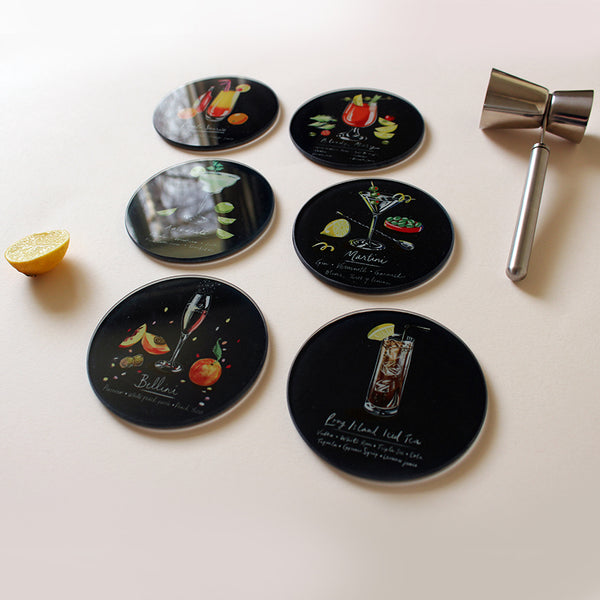 Glass Cocktail Coasters - 6 Pack