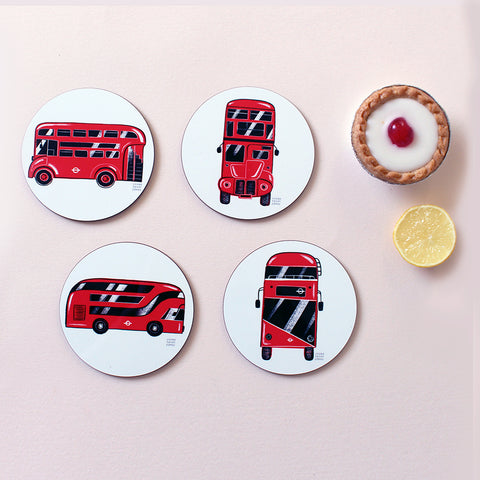 London Bus Wooden Coasters - 4 pack