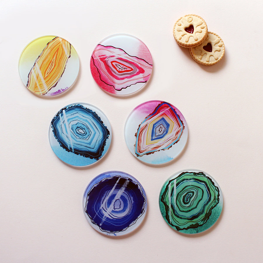 Geodes Glass Coasters - 6 Pack