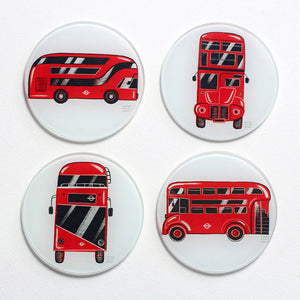 London Bus Glass Coasters - 4 pack