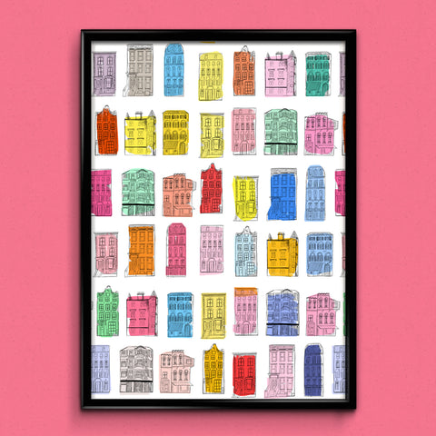 Colourful Houses A3 Print