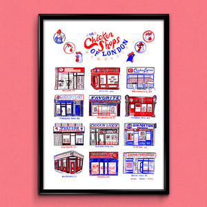 Chicken Shops of London A3 Print