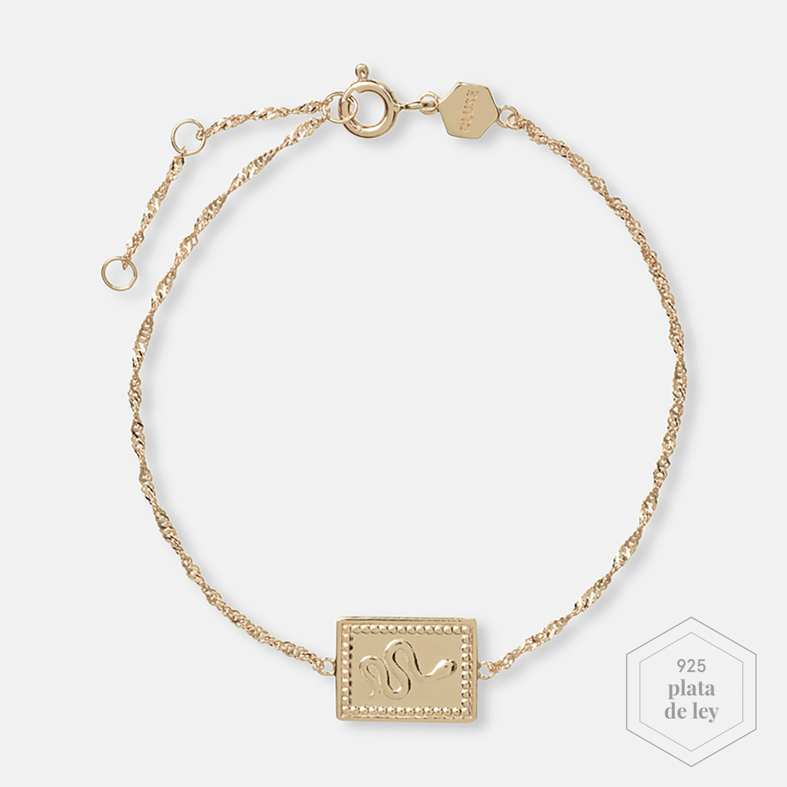 CLUSE Force Tropicale Gold Twisted Chain Tag Bracelet CLJ11022 - Pulsera