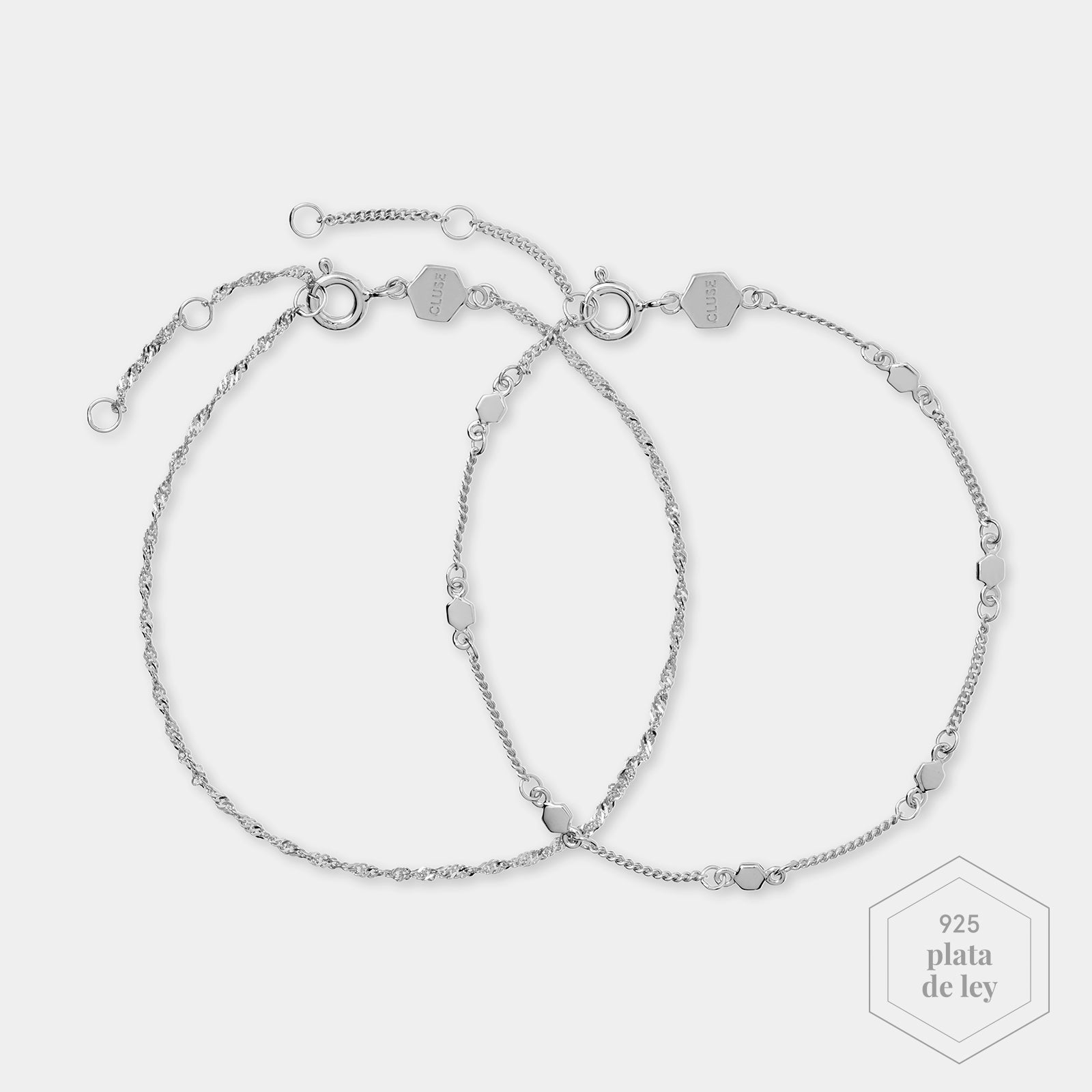 CLUSE Essentielle Silver Set of ​Two ​twisted and Hexagon Chain Bracelets CLJ12019 - Pulsera