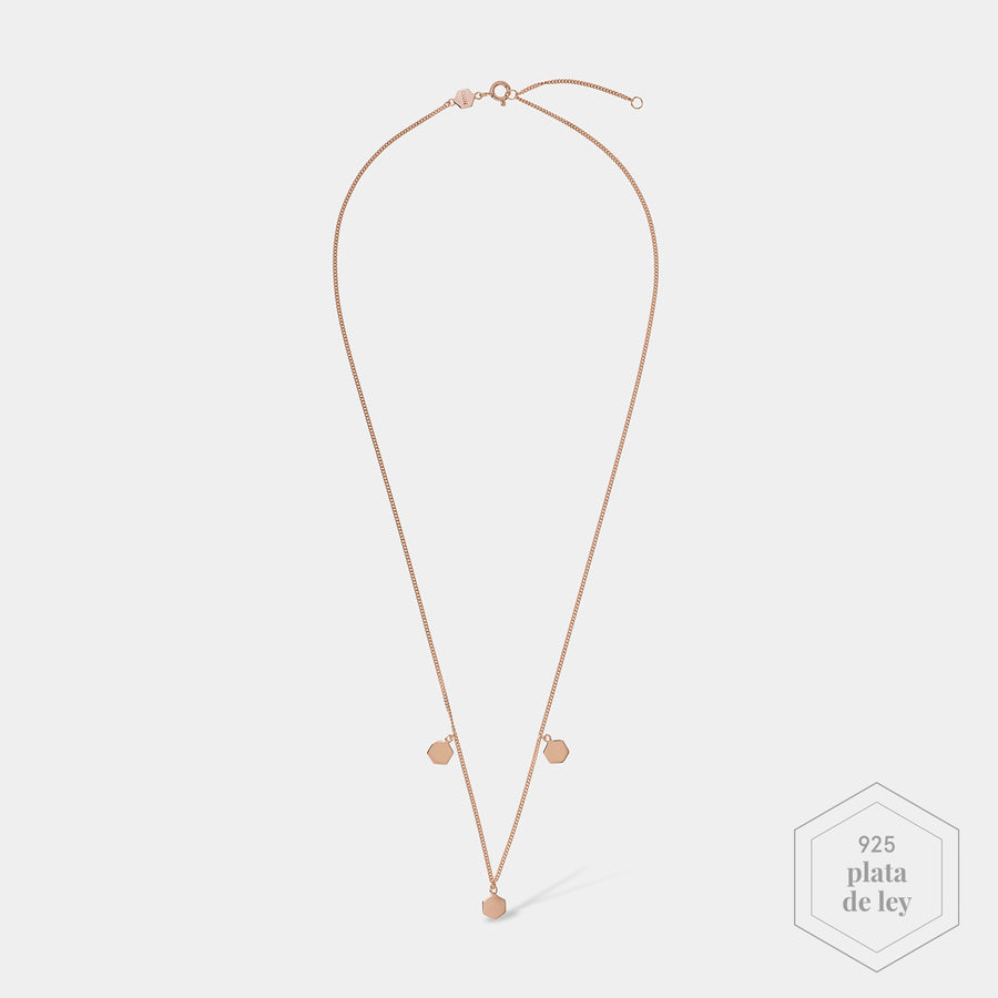 CLUSE Essentielle Rose Gold Three Hexagon Charms Necklace CLJ20012 - Collar