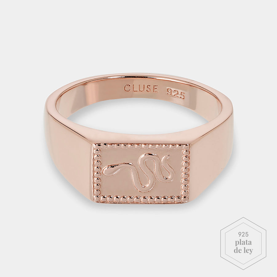 CLUSE Force Tropicale Rose Gold Signet Rectangular Ring 52 CLJ40012-52 - Anillo talla 52