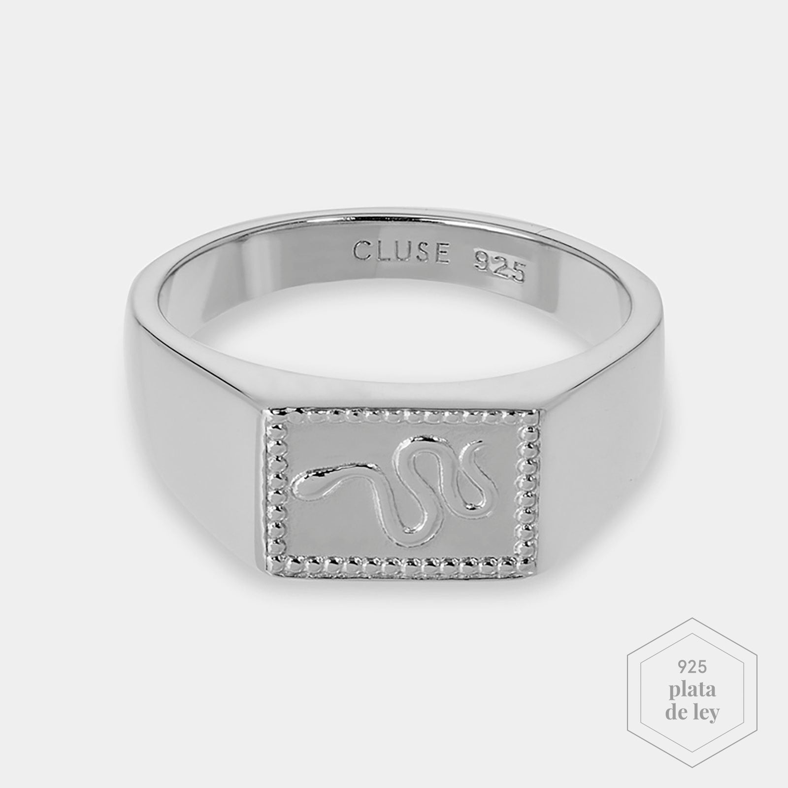 CLUSE Force Tropicale Silver Signet Rectangular Ring 56 CLJ42012-56 - Anillo talla 56