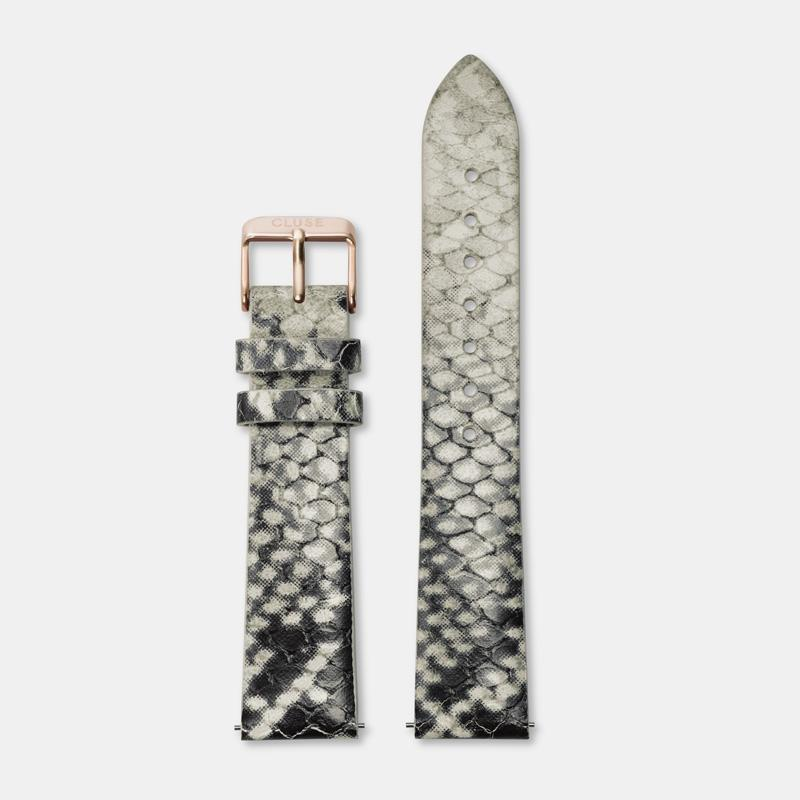 CLUSE Strap 18 mm Leather White Python/Rose gold CS1408101023 - Strap