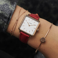 CLUSE 16 mm Strap Deep Red Lizard/Rose Gold CLS383 - Correa de reloj en la muñeca