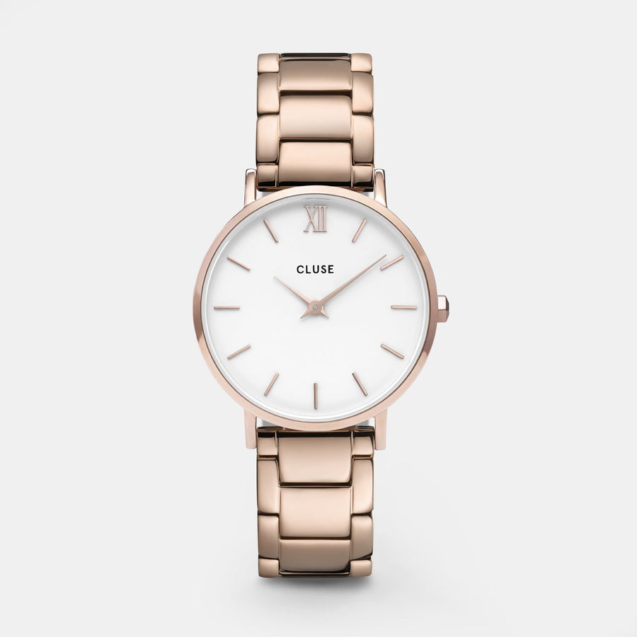 CLUSE Minuit 3-Link Rose Gold White/Rose Gold - Reloj