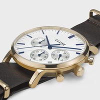 CLUSE Aravis chrono nato leather gold white/dark brown CW0101502009 - Detalle de caja del reloj