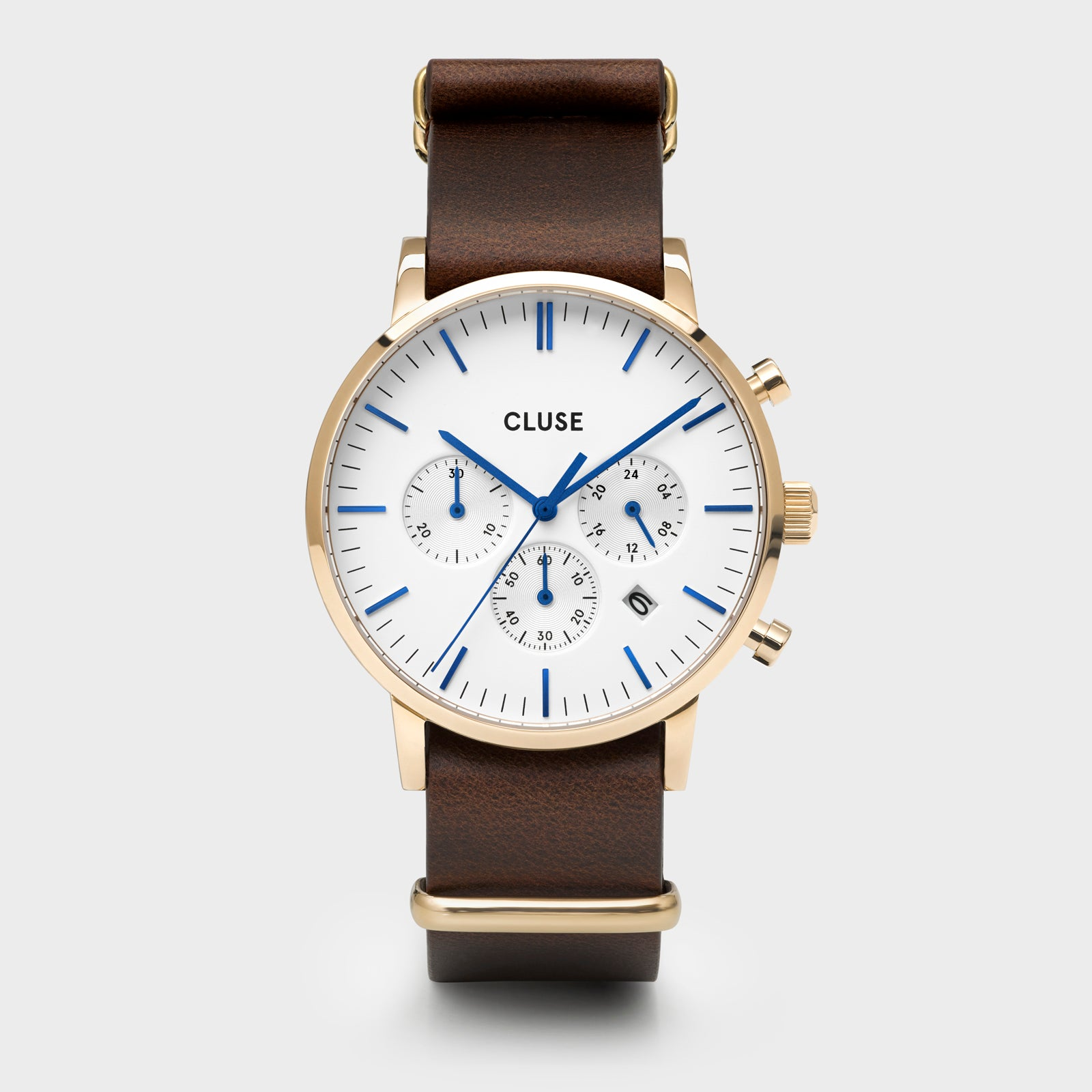 CLUSE Aravis chrono nato leather gold white/dark brown CW0101502009 - Reloj